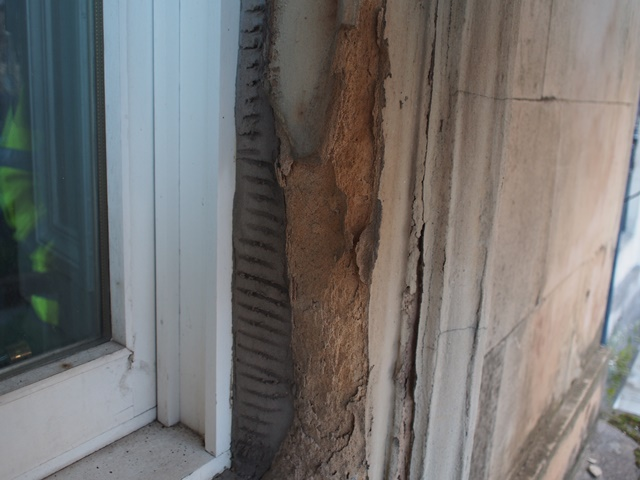 Stone architraves crumbling to dust